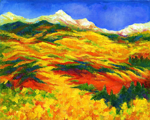 abstract mountain landscape paintings. beautiful abstract mountain landscape painting copyright 2004 katiel all paintings
